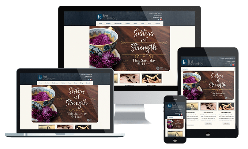 Church website design company in Jacksonville showcases a website design for First Assembly Clay County - by PMCJAX