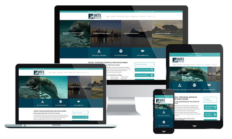 Nonprofit website design company Jacksonville FL for JMTX, a member of Jacksonville's port system
