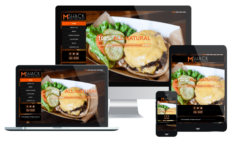 Restaurant website design company in Jacksonville FL - for MShack Burgers