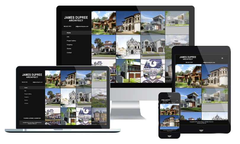 Website design for small business in Jacksonville for James Dupree, Architect