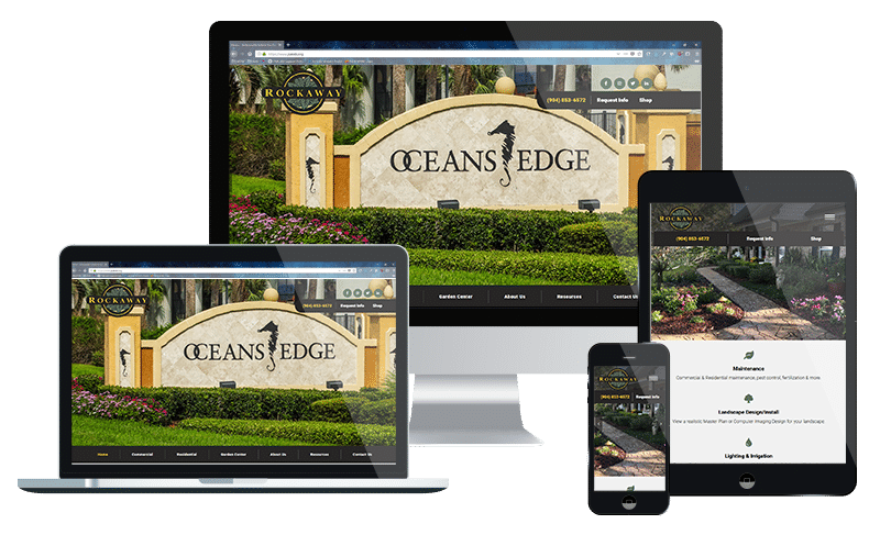 Jacksonville website design company for small business example of responsive web design for the leading Jacksonville Beach landscaping and garden center company.