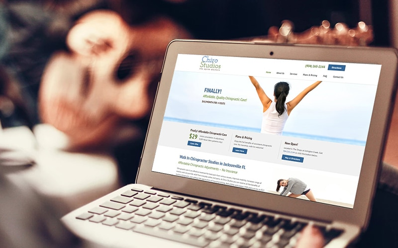 startup website design healthcare - Chiropractor web design by PMCJAX in Jacksonville Florida