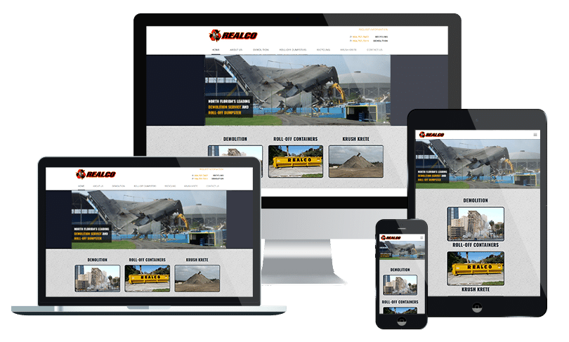 Construction company website design agency jacksonville florida - Realco Recycling